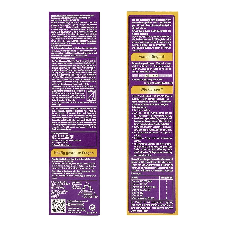COMPO FLORANID® Rasendünger Gegen Unkraut+Moos 4in1, Perfekt Absgestimmte  Rasenpflege Mit Zuverlässiger Unkraut  Und Moosvernichtung, 6 Kg Für 200  M²: ...