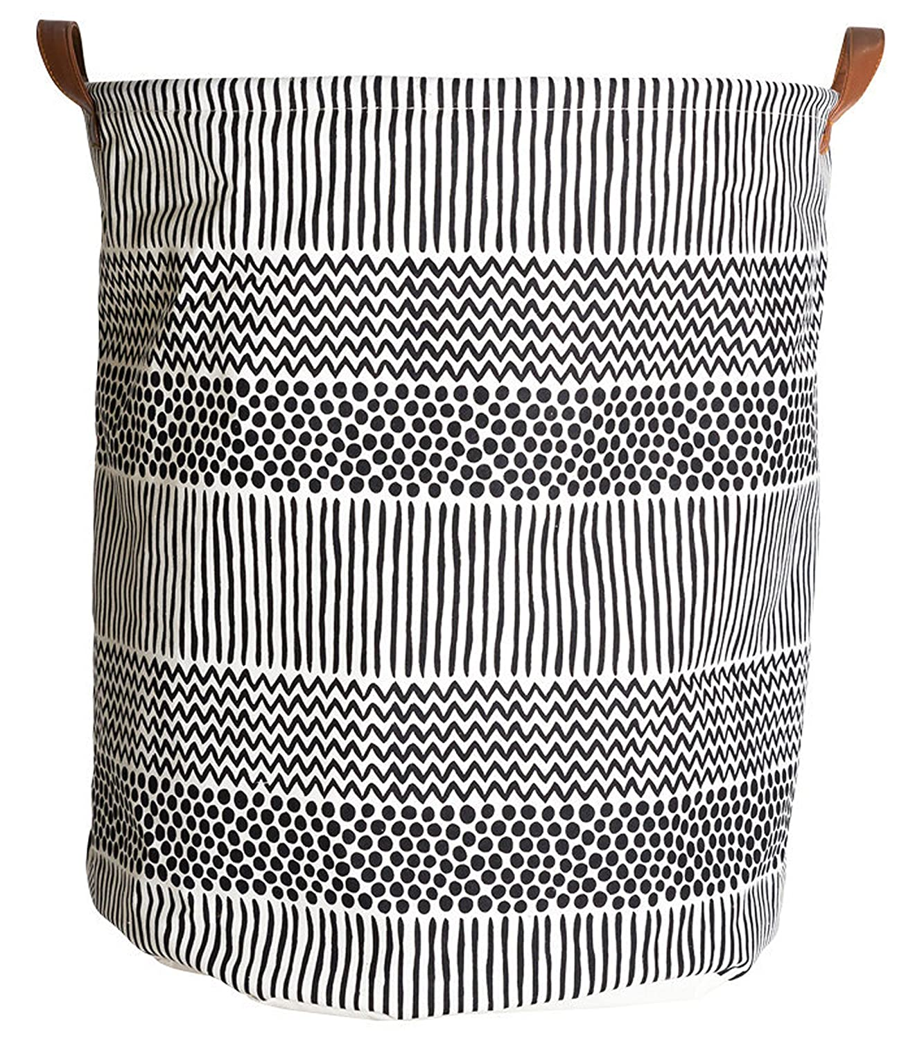 CLOCOR Round Storage Bin/Large Storage Basket/Collapsible Clothes Laundry Hamper/Toy Storage Bin(Black Spots)
