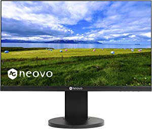 AG Neovo MH-24 24 Inch IPS 1080p Bezel Less Ergonomic Monitor with HDMI, DisplayPort and Speakers, Height Adjustable, Pivot, Swivel and Tilt for Home and Office