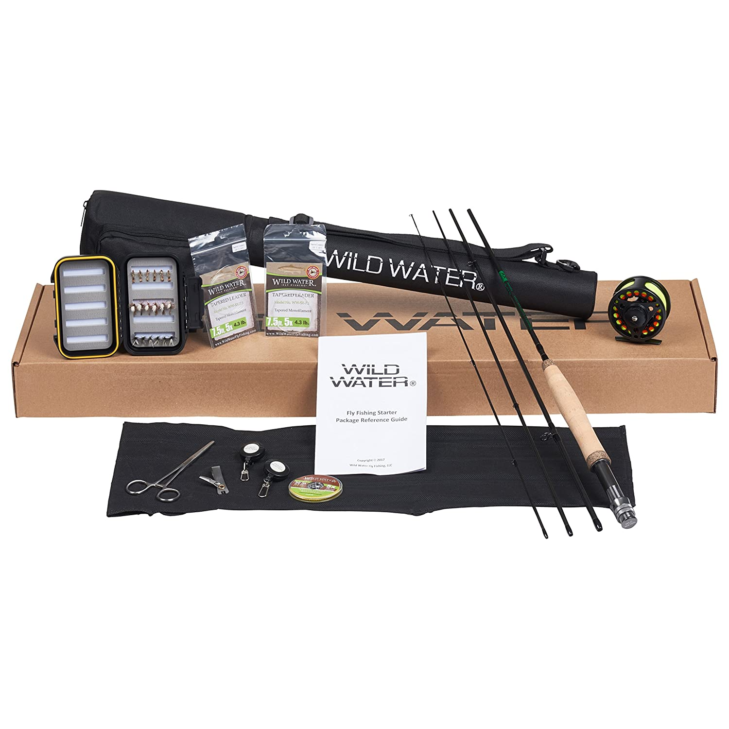 Wild Water Fly Fishing Deluxe Rod and Reel Combo 4 Piece Fly Rod 3 4 7 Complete Starter Package