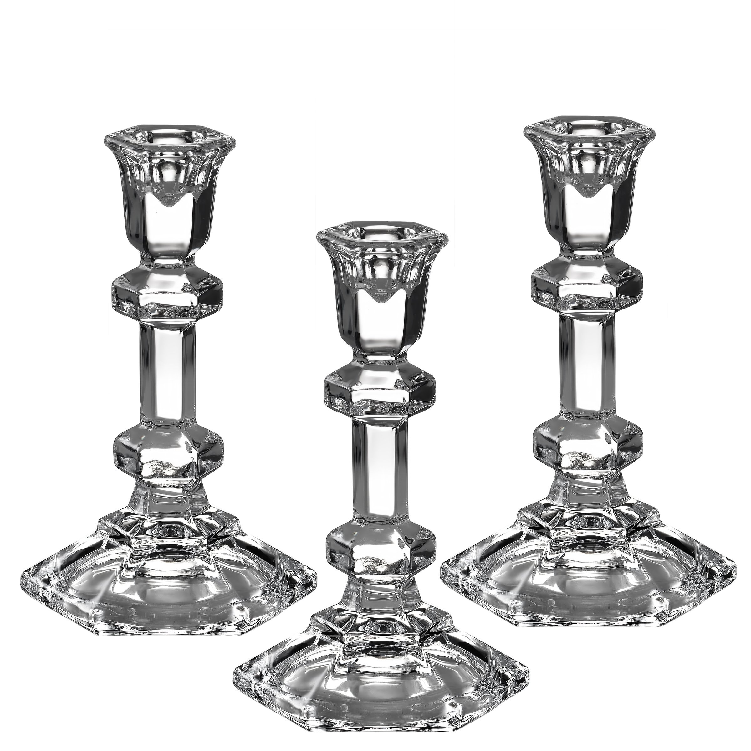 Light In the Dark Set of 3 Hexagonal Shaped Taper/Stick Candle Holder 5.5 Inch Tall