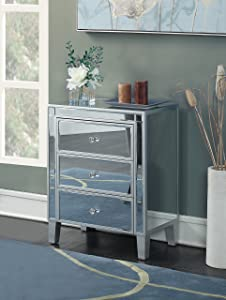 Convenience Concepts 413859SS Gold Coast 3 Drawer Mirrored End Table Silver