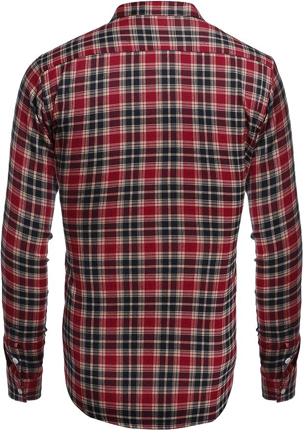 Coofandy Camisa Hombre a Cuadros Manga Larga Cierre Especial con Botones Casual: Amazon.es: Ropa y accesorios