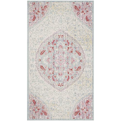 Safavieh Windsor Collection Light Grey and Blue Cotton Area Rug, 3 x 5