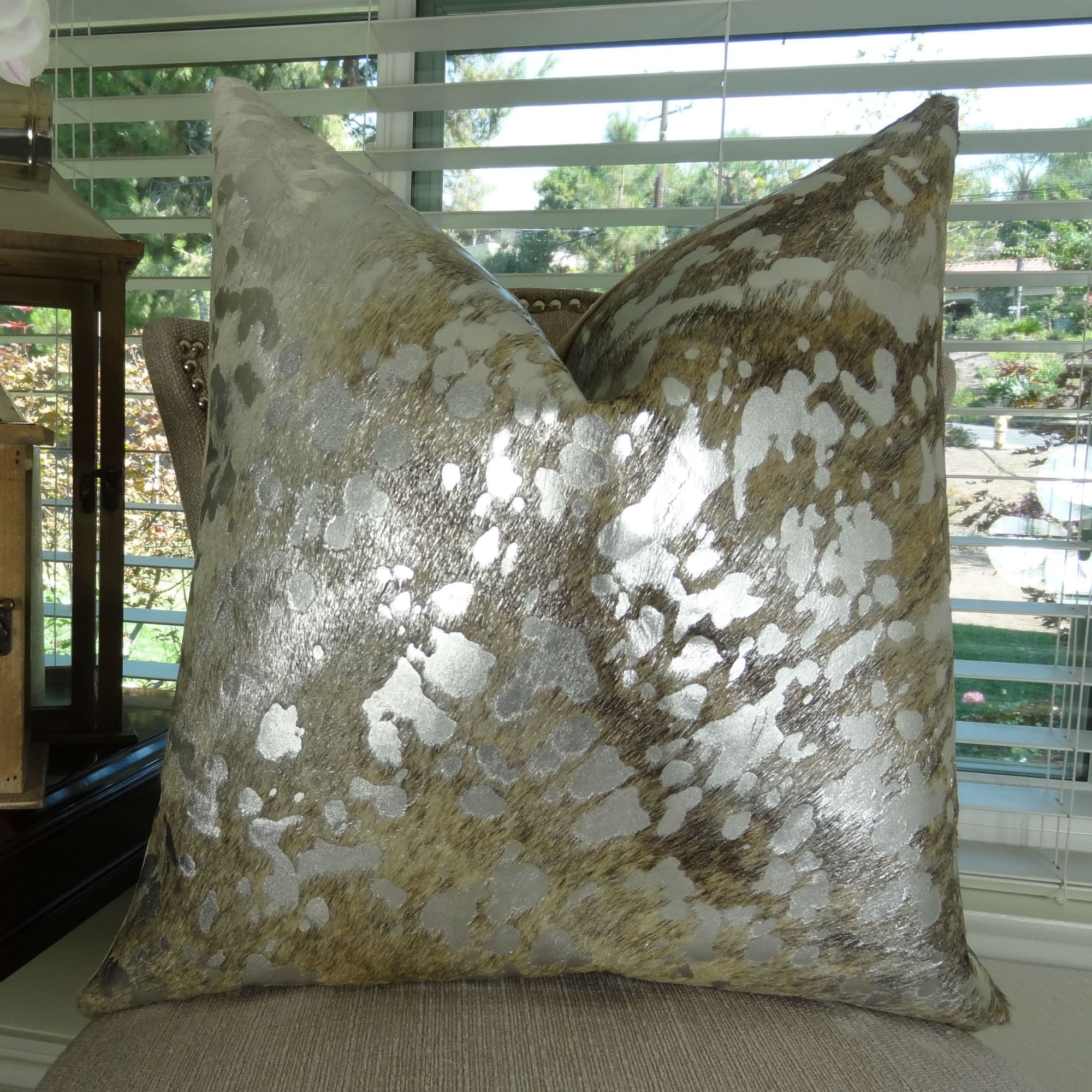 Thomas Collection animal themed throw pillows, silver cowhide throw pillow, Silver Metallic Light Brindle Tan Devore Brazilian Cowhide Throw Pillow, INCLUDES POLYFILL INSERT, Handmade in USA, 16635 by Thomas Collection