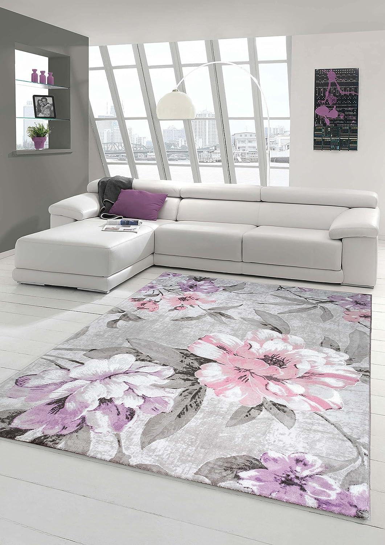 Designer Rug Contemporary Rug Wool Carpet Living Room Carpet Wool - Grey and lilac living room