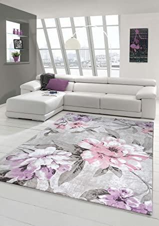 Designer Rug Contemporary Rug Wool Carpet Living Room Carpet Wool Rug With  Floral Pattern Pink Grey Part 55