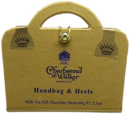 543e9a5b2e Charbonnel et Walker Milk Sea Salt Caramel Chocolate Shoes in Golden Handbag  Box