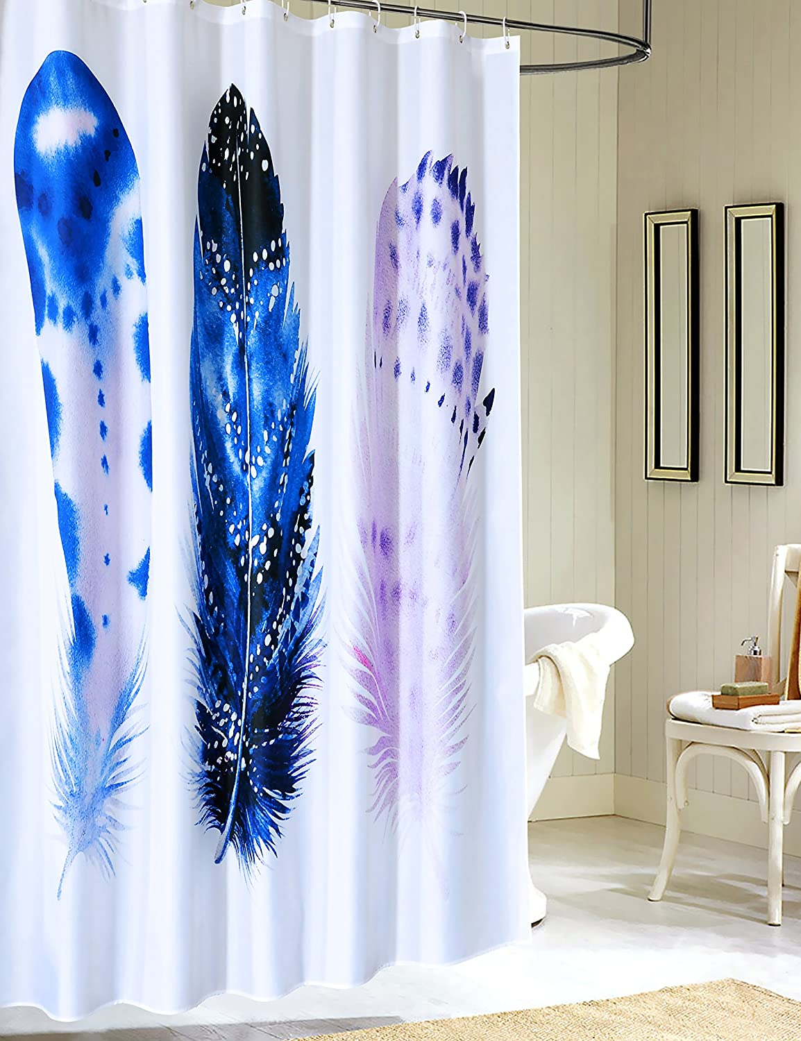 Amazon Kingmily Fabric Shower Curtain Extra Long Feather Art White Blue Purple 72 By 78 Inches Design 11 Home Kitchen