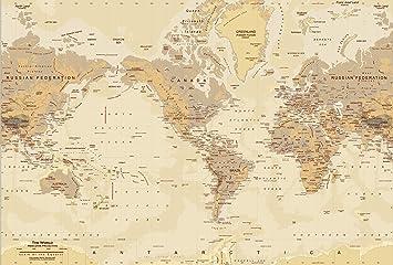 Tan World Map Wall Mural, Peel U0026 Stick, 8 Panel   142u0026quot;