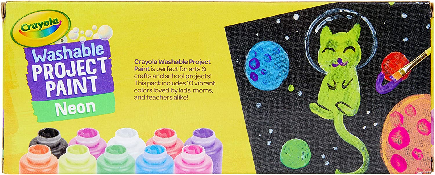 Crayola Washable Kids Paint Craft Art Book Bright Colours Most Clothing 6 Pack