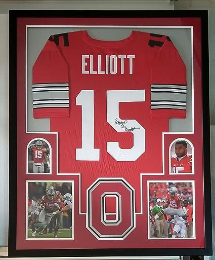 pretty nice 83ce4 dcaae Ezekiel Elliott Autographed Signed Jersey Framed Ohio State ...