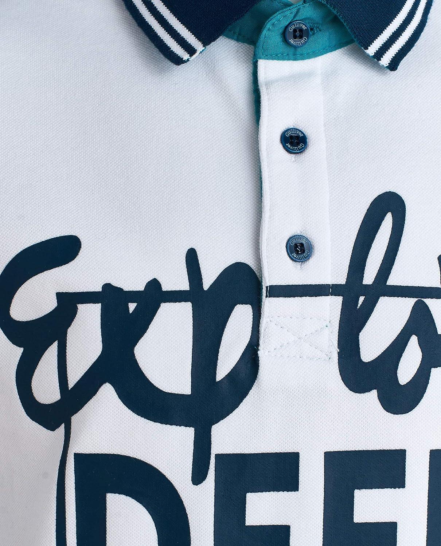 camisa blanca y azul marino con parche de manga corta 8-13 a/ños 134-164 cm GULLIVER Polo para ni/ños