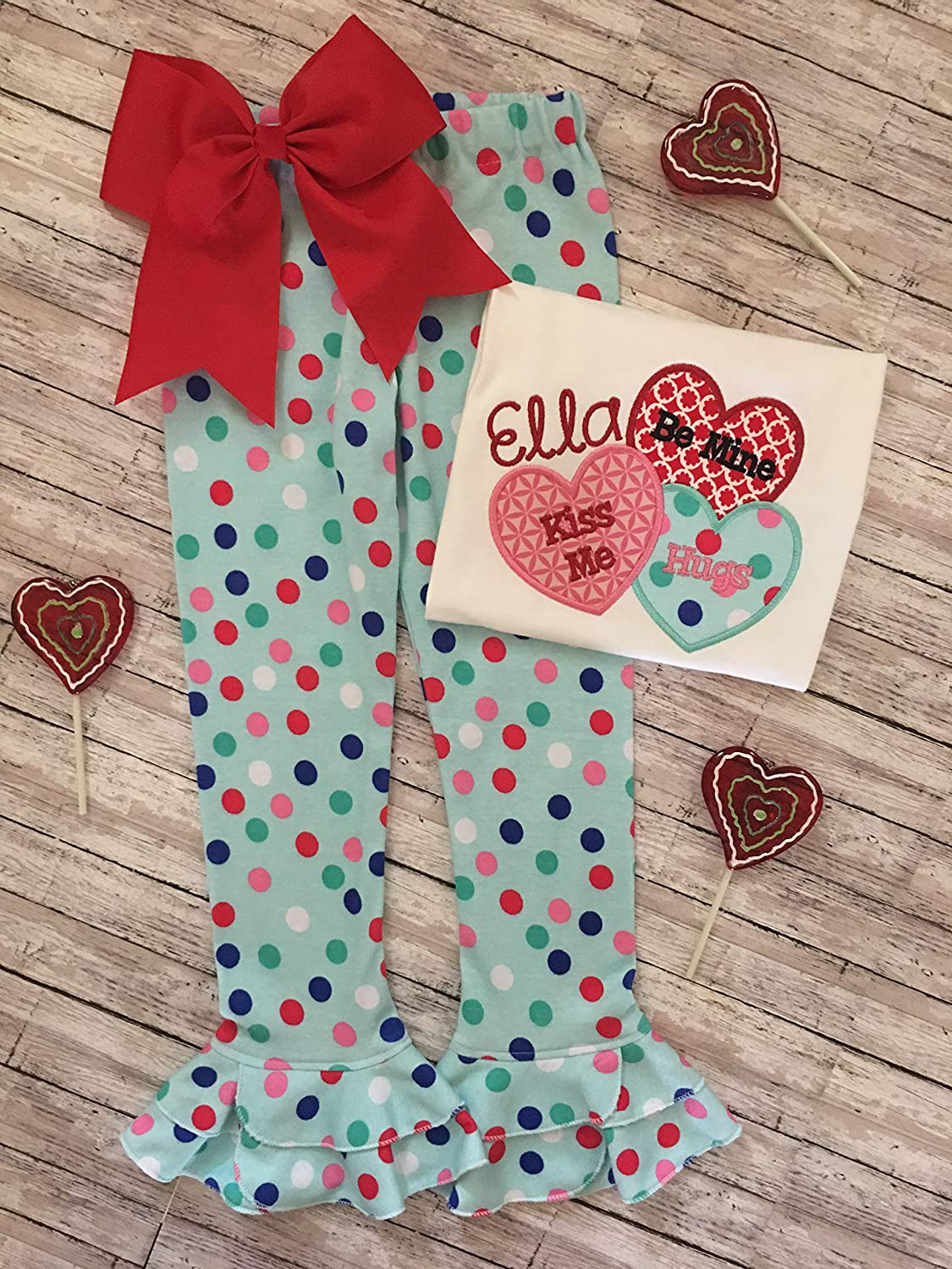 Girl Personalized Valentine Shirt and Knit Ruffle Pants Little Girls Custom Valentine Outfit Valentine Heart Shirt
