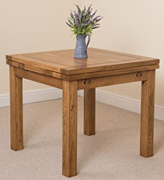 Cotswold Rustic Solid Oak 90 Square Extending Dining Table Amazon