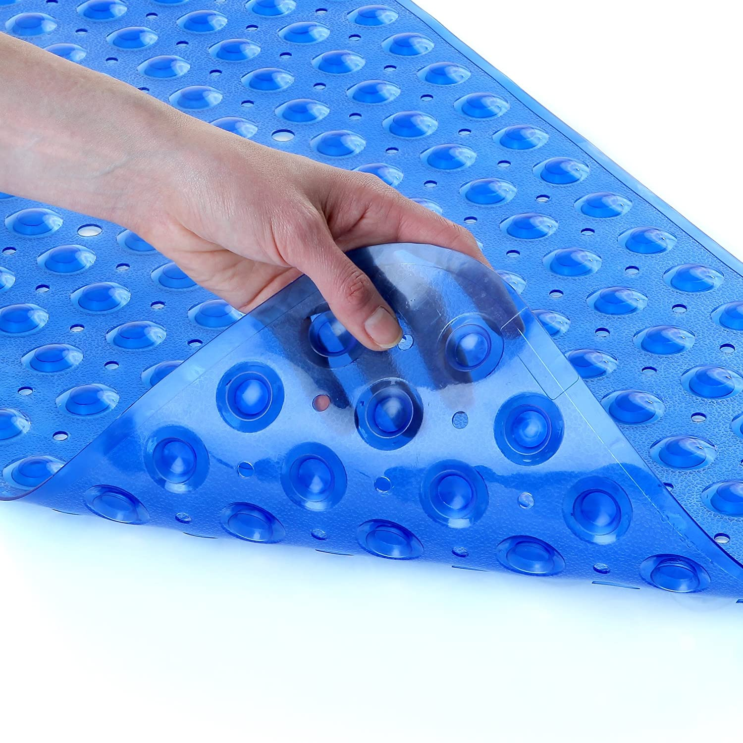 200 Suction Cups, 100cm Long - Extended Coverage, Machine Washable SlipX Solutions Blue Extra Long Bath Mat Adds Non-Slip Traction to Tubs /& Showers 30/% Longer than Standard Mats!