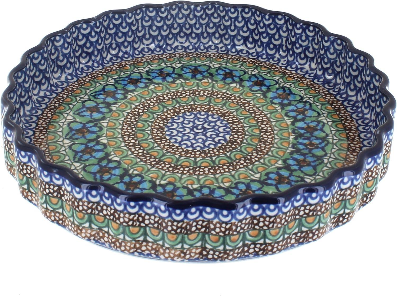 Blue Rose Polish Pottery Mardi Gras Torte Plate
