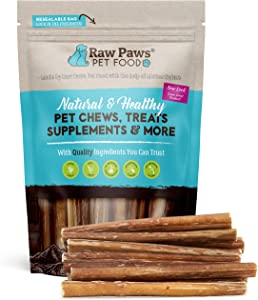 Raw Paws Standard Bully Sticks 6 inch Junior, 10 Pack - Medium Bully Sticks for Dogs - Grass Fed, No Hormones or Antibiotics, Free Range Cows - Pizzle Sticks for Dogs - Long Lasting Bully Bones
