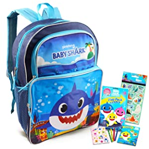 Baby Shark Backpack Travel Bag for Boys Toddlers Kids Bundle ~ Premium 16