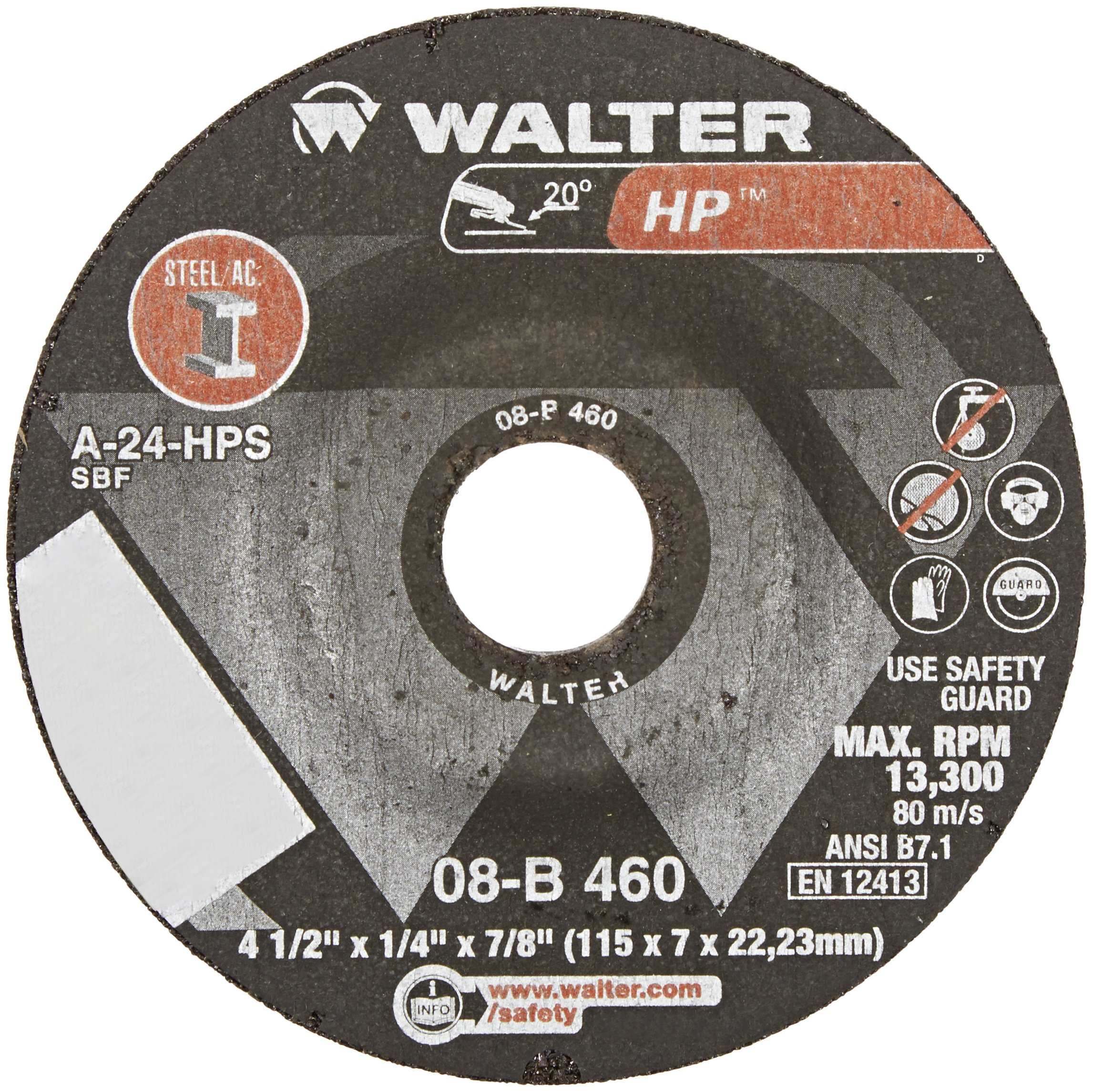 Walter HP Grinding Wheel, Type 27, Round Hole, Aluminum Oxide, 4-1/2'' Diameter, 1/4'' Thick, 7/8'' Arbor, Grit A-24-HPS (Pack of 25) by Walter Surface Technologies (Image #2)