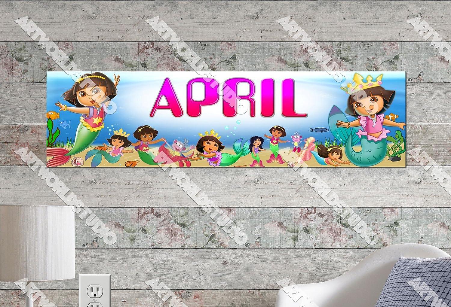 "Dora Poster 30/"" x 8.5/"" Personalized Custom Banner Name Printing for Children"