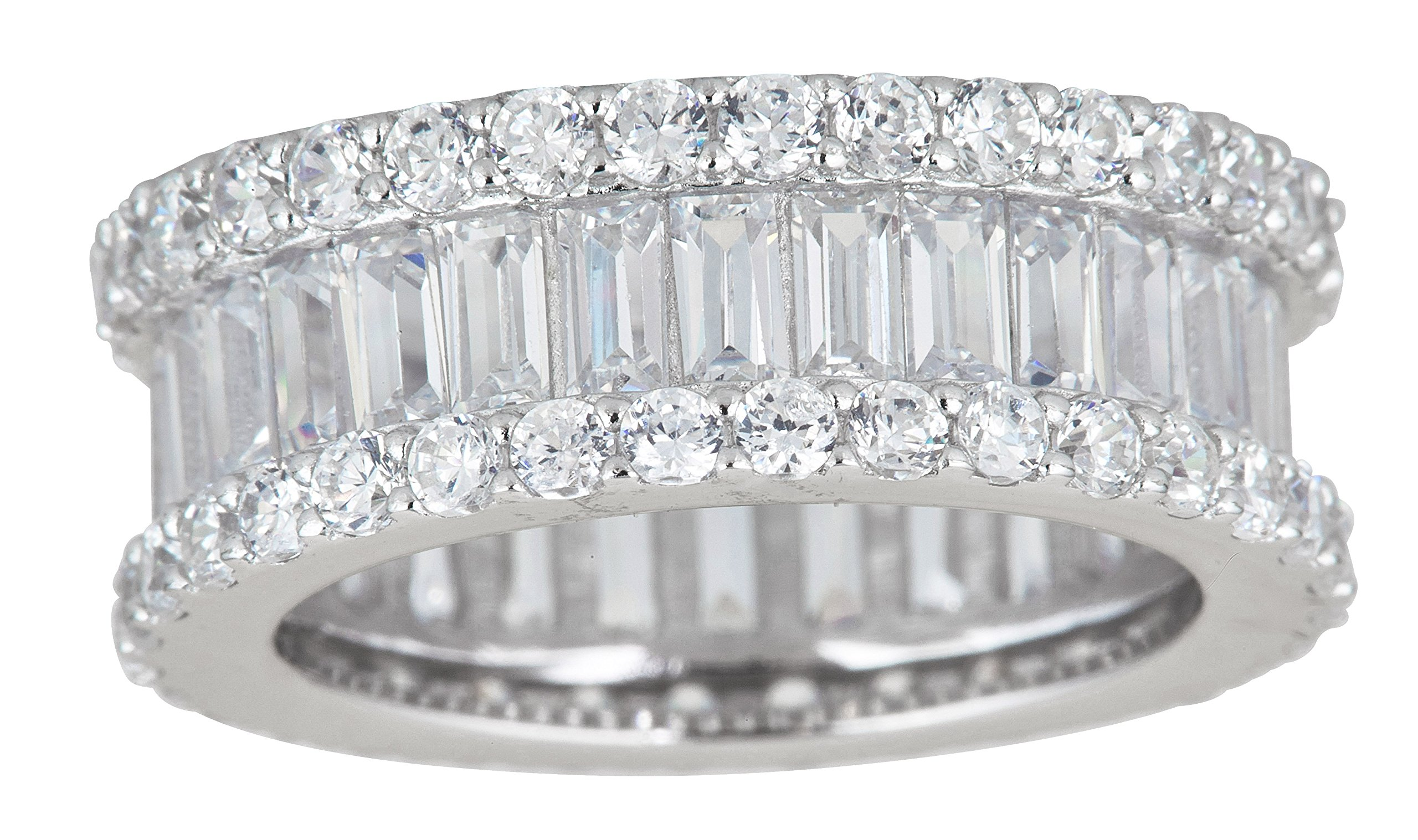 Sterling Silver Cubic Zirconia Round & Baguette Eternity Ring