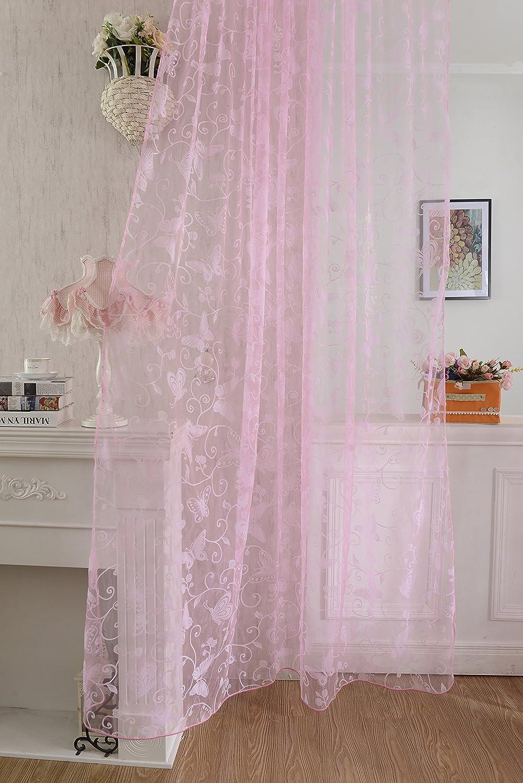 200cm Rose 200 x 100cm Voilage de Fen/être Papillon Flocage Panneau de Tulle Diviseur 100