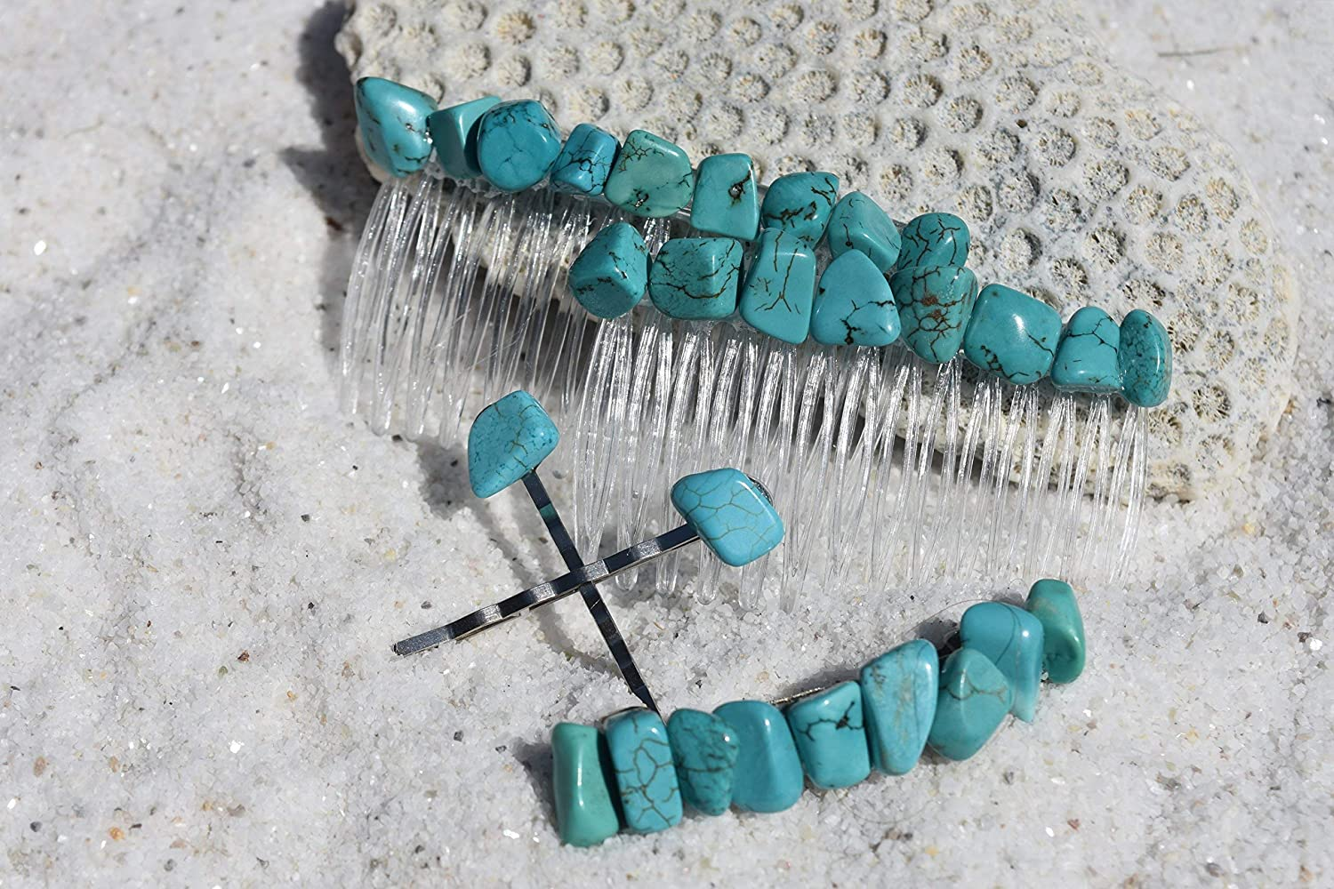 Set of 2 turquoise gemstone chip beaded Bobby pins wire wrapped decorated hair pins boho unique hair accessories stylish handmade fun