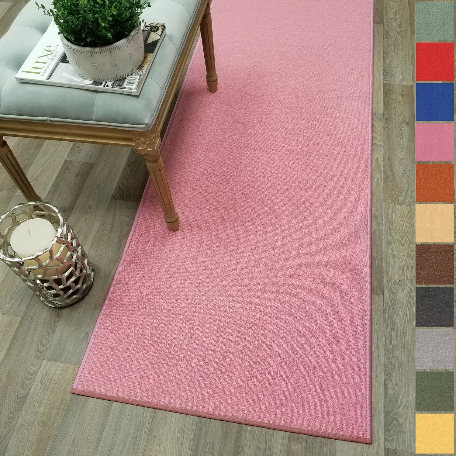 Kapaqua Custom Size PINK Solid Plain Rubber Backed Non-Slip Hallway Stair Runner Rug Carpet 22 inch Wide Choose Your Length 22in X 6ft
