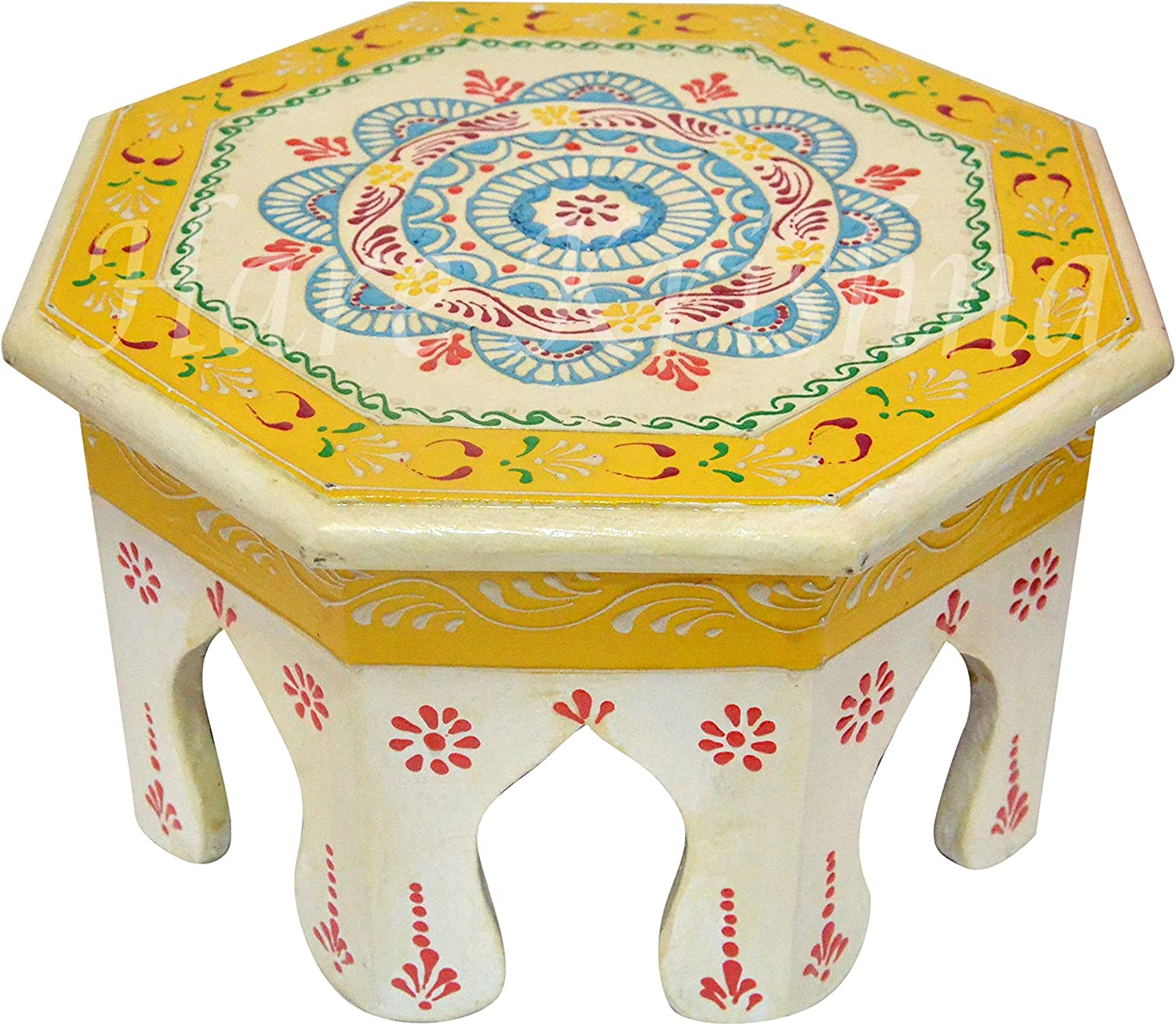 White Painted Footstool Wooden Furniture Low Wooden Side Table 10 x 10 x 6 Inches