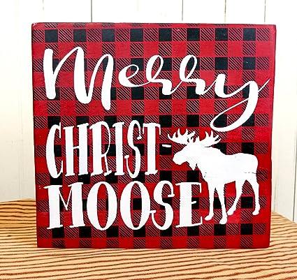merry christmoose buffalo plaid moose sign christmas moose decor cabin christmas decor cabin christmas decorations moose - Christmas Moose