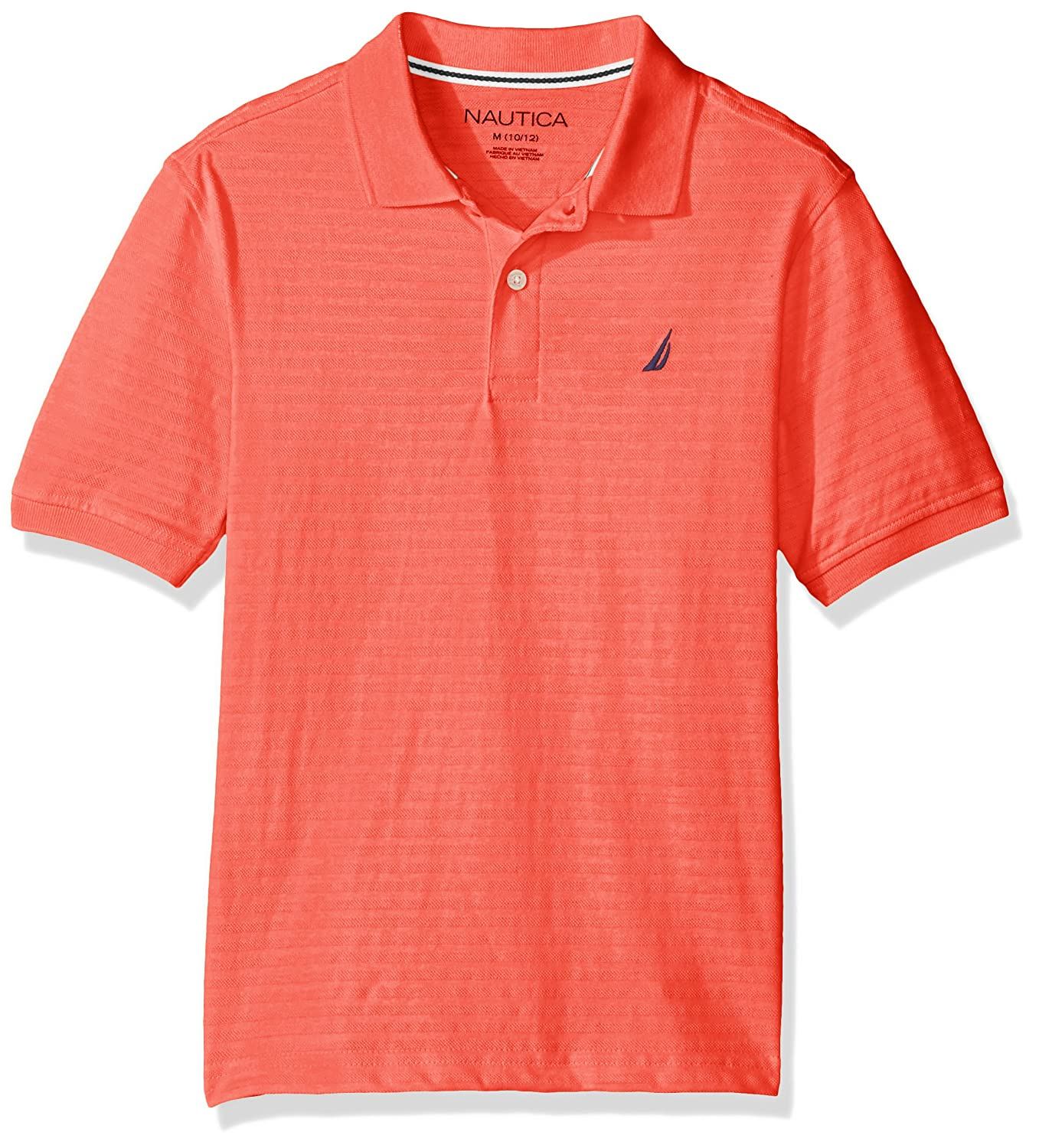 Nautica Boys Short Sleeve Texture Deck Polo