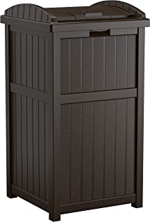 product image for Suncast 33 Gallon Can Resin Outdoor Trash Hideaway with Lid Use in Backyard, Deck, or Patio, Brown