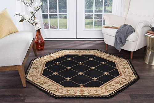 Orleans Traditional Border Black Octagon Area Rug