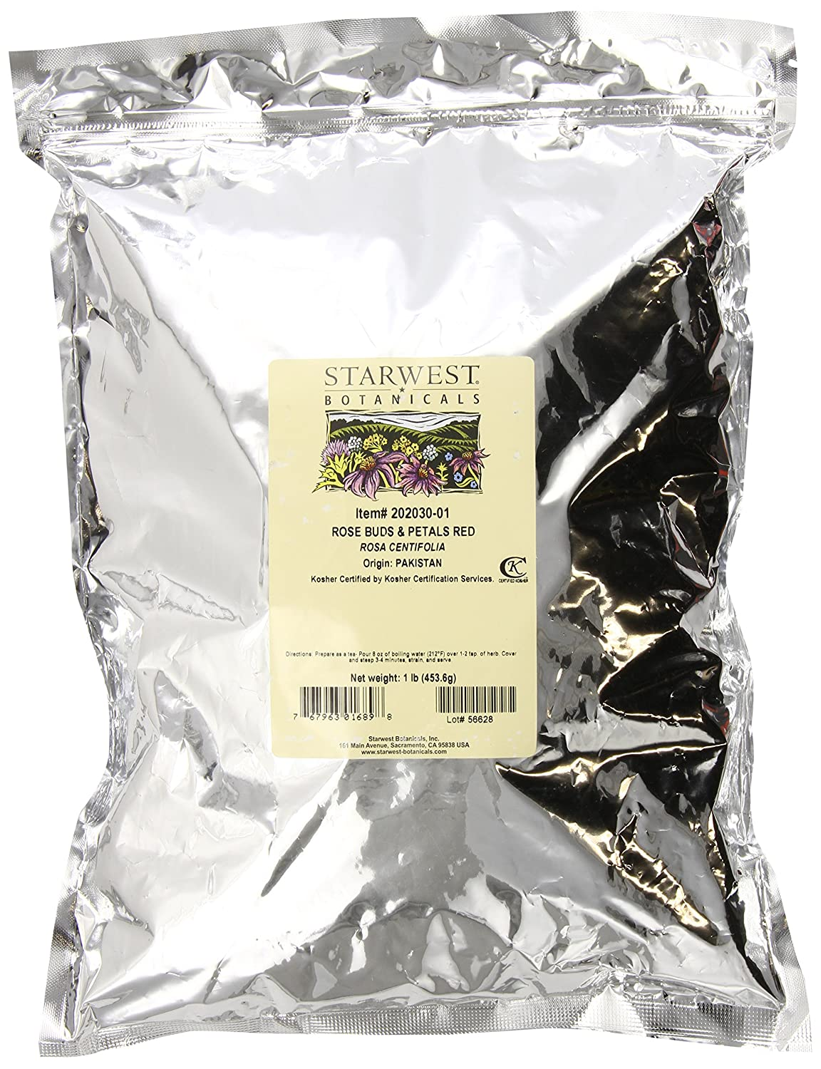 STARWEST BOTANICALS Red Rose Buds and Petals, 16 Ounce