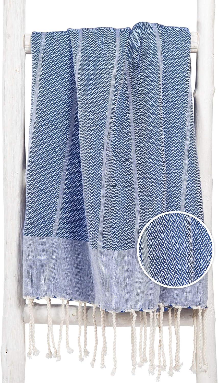 Fouta Toalla Hammam Playa XXL Azul, Original ZusenZomer | Lujoso Modelo Extra Grande de Toalla de Sauna | Muy Absorbente y Ligero | 100x190 cm | 100% ...