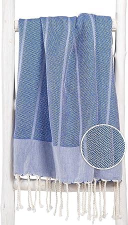 Fouta De Plage Xl PLAYA 100x190 Cm Jeans Bleu 100% Coton   Drap De Hammam