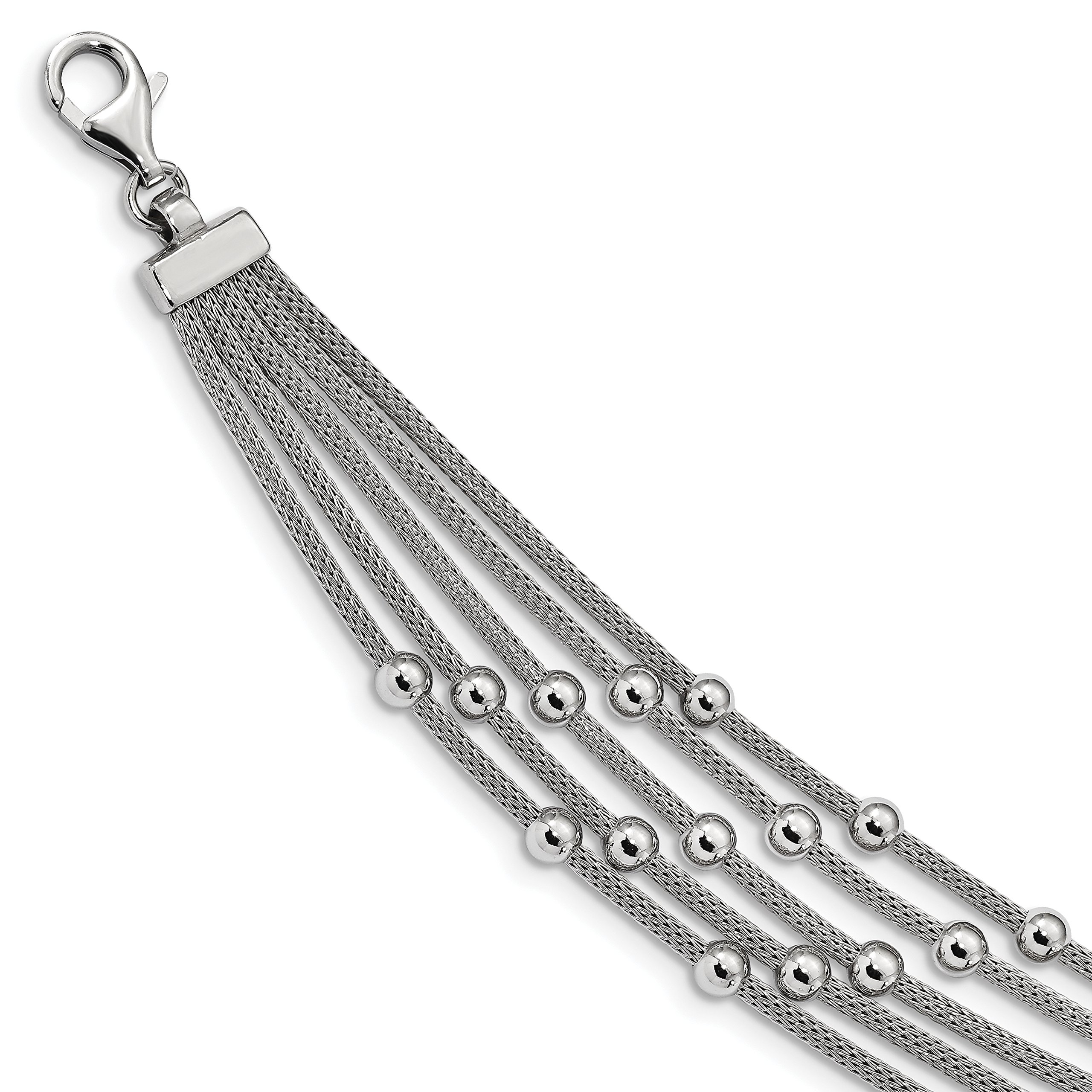 ICE CARATS 925 Sterling Silver Beaded Link Mesh Multi Strand 7.25 Inch Bracelet Fancy Bead Beadsed