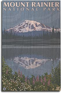 product image for Lantern Press Mount Rainier, Washington - Reflection Lake (10x15 Wood Wall Sign, Wall Decor Ready to Hang)