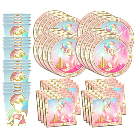 Gold Mermaid Princess Birthday Party Supplies Set Plates Napkins Cups Tableware Kit for 16  sc 1 st  Amazon.com & Amazon.com: Gold Mermaid Princess Birthday Party Supplies Set Plates ...
