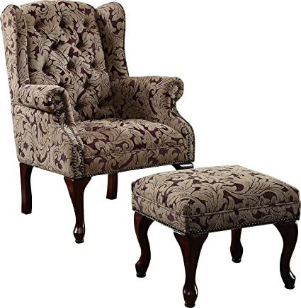 Amazon Com Tufted Wing Back Chair And Ottoman Brown Kitchen Dining