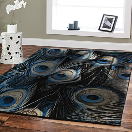 Delicieux Large Premium Soft Luxury Peafowl Style Rug For Living Room 8x11 Navy Blue  Rug Beige Brown