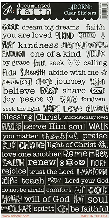 Adorn it 91609 documented faith clear stickers 6 x 12