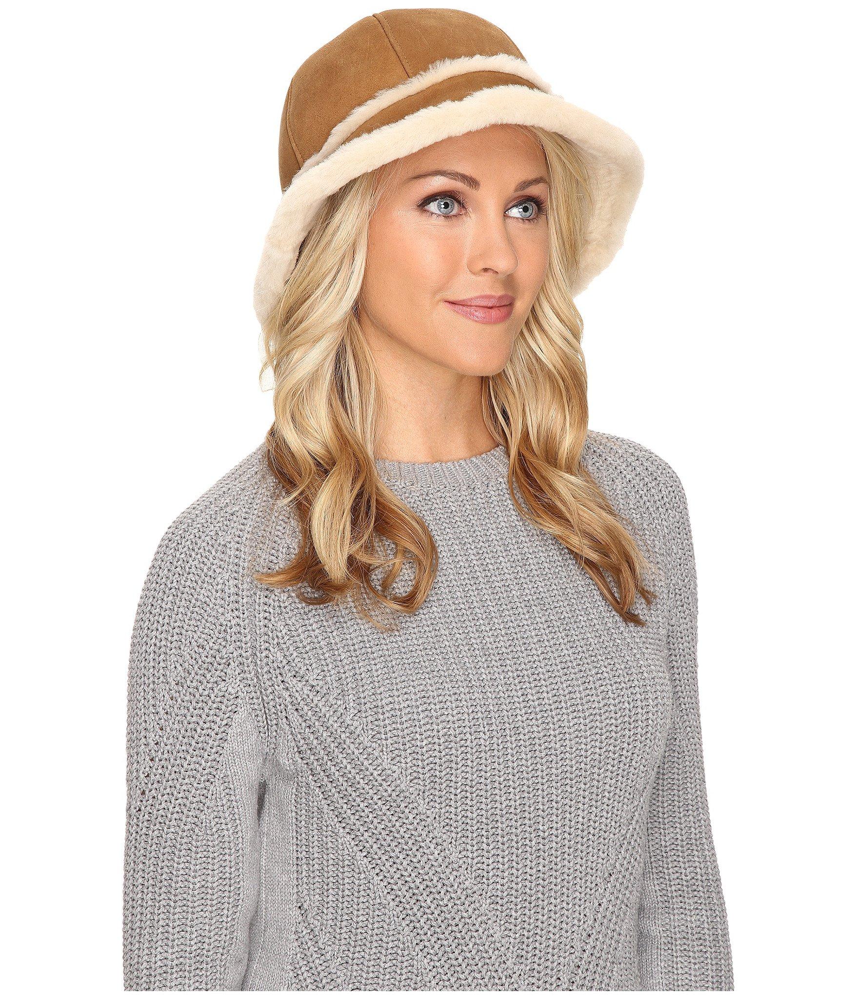 UGG Women's Sheepskin City Bucket Hat Chestnut Hat One Size