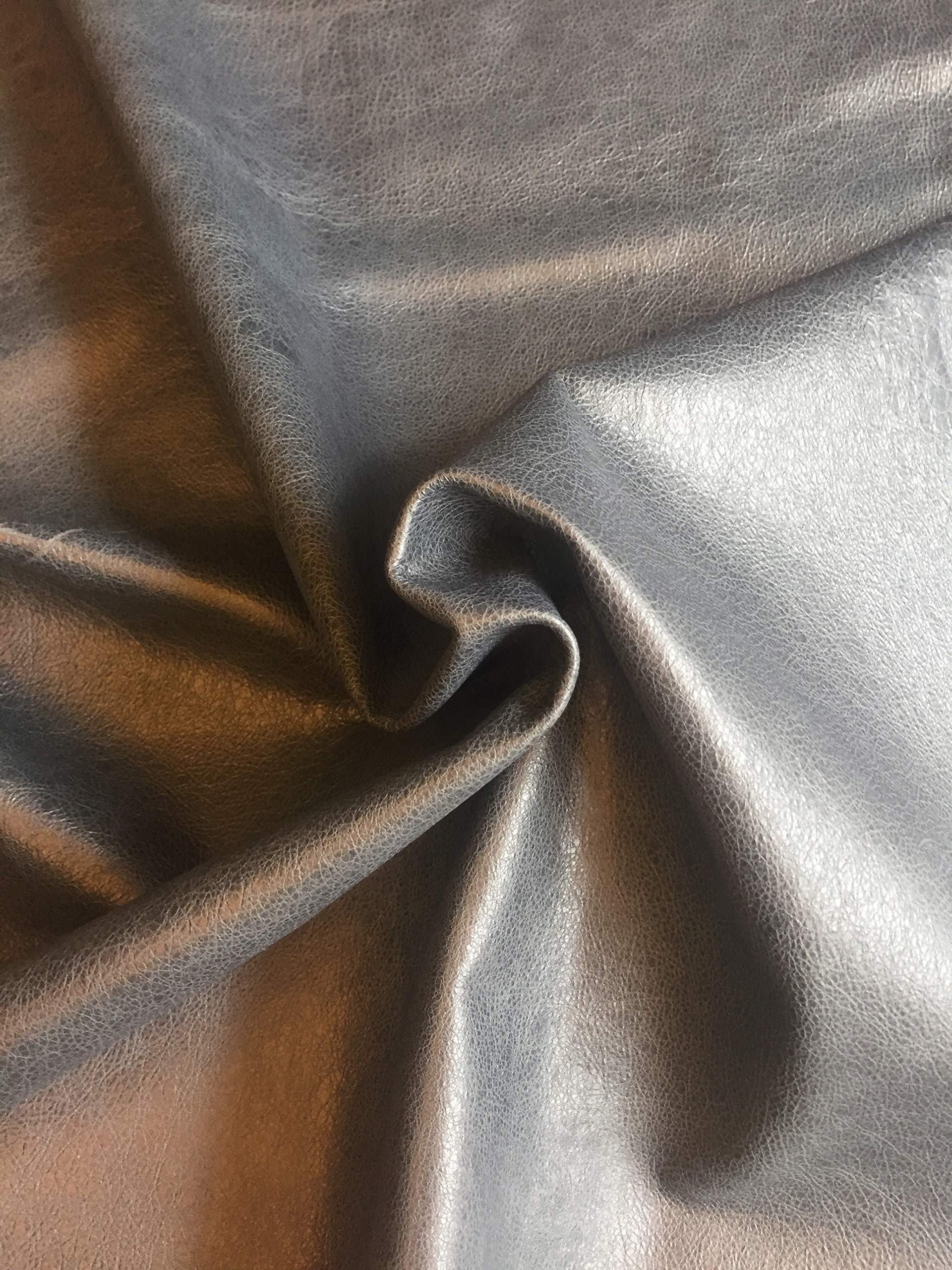 Grey Blue Leather Hide - Full Skin - Rustic Finish - 8 sq ft - 1 oz AVG - Genuine Sheepskin Material - Top Quality Lambskin - Craft DIY Projects - Soft Thin Upholstery Fabric - Leather Treasure