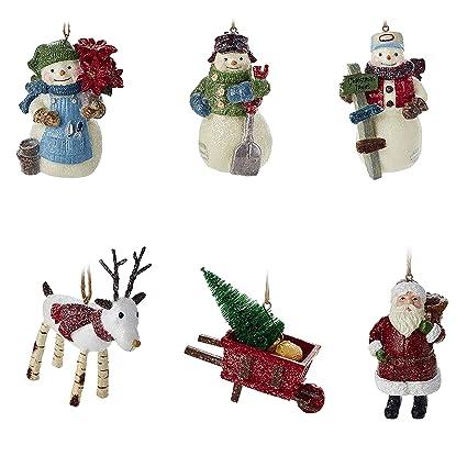 Hallmark Christmas Ornaments Rustic Snowman Santa And Reindeer Holiday Decorations Set Of 6 Gary Head