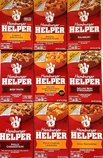 Hamburger Helper Variety Pack of 9 - Cheesy Enchilada,Salisbury,Philly Cheesesteak,Four