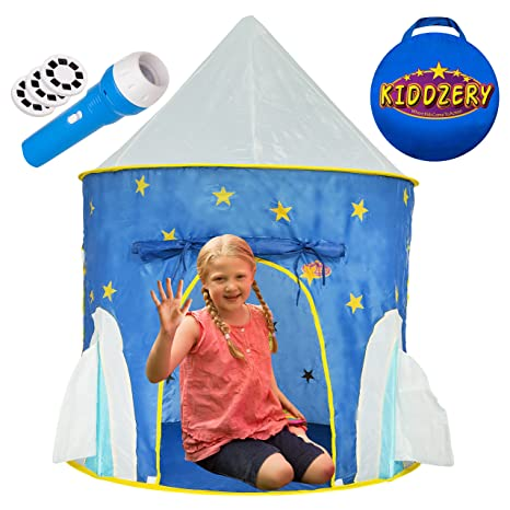 Kiddzery Rocket Ship Play Tent With FREE BONUS Space Torch Projector - Children Playhouse Durable  sc 1 st  Amazon.com : toddler playhouse tent - memphite.com