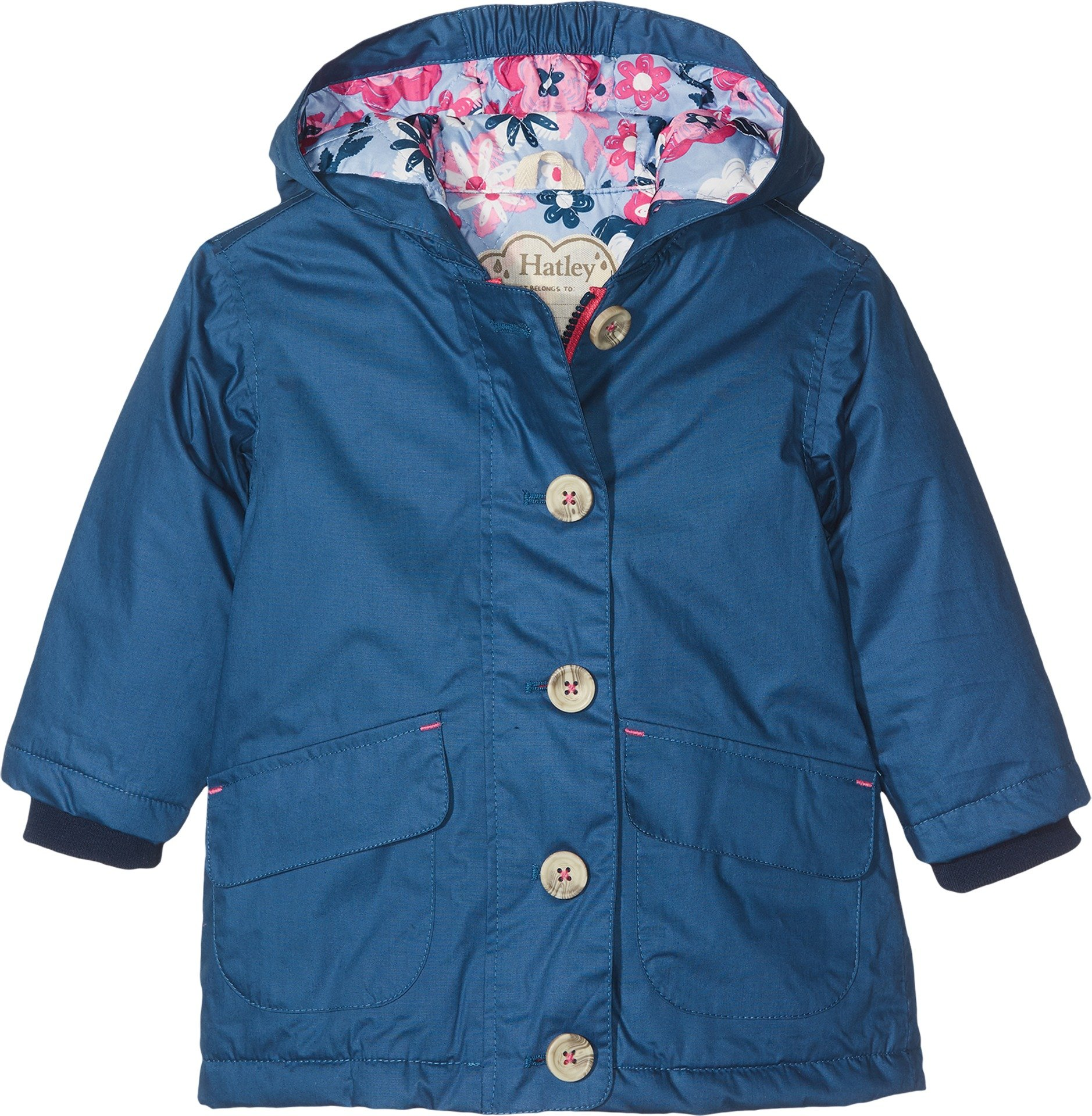 Hatley Big Girls' Cotton Coated Raincoats, Navy Wintery Blooms, 8