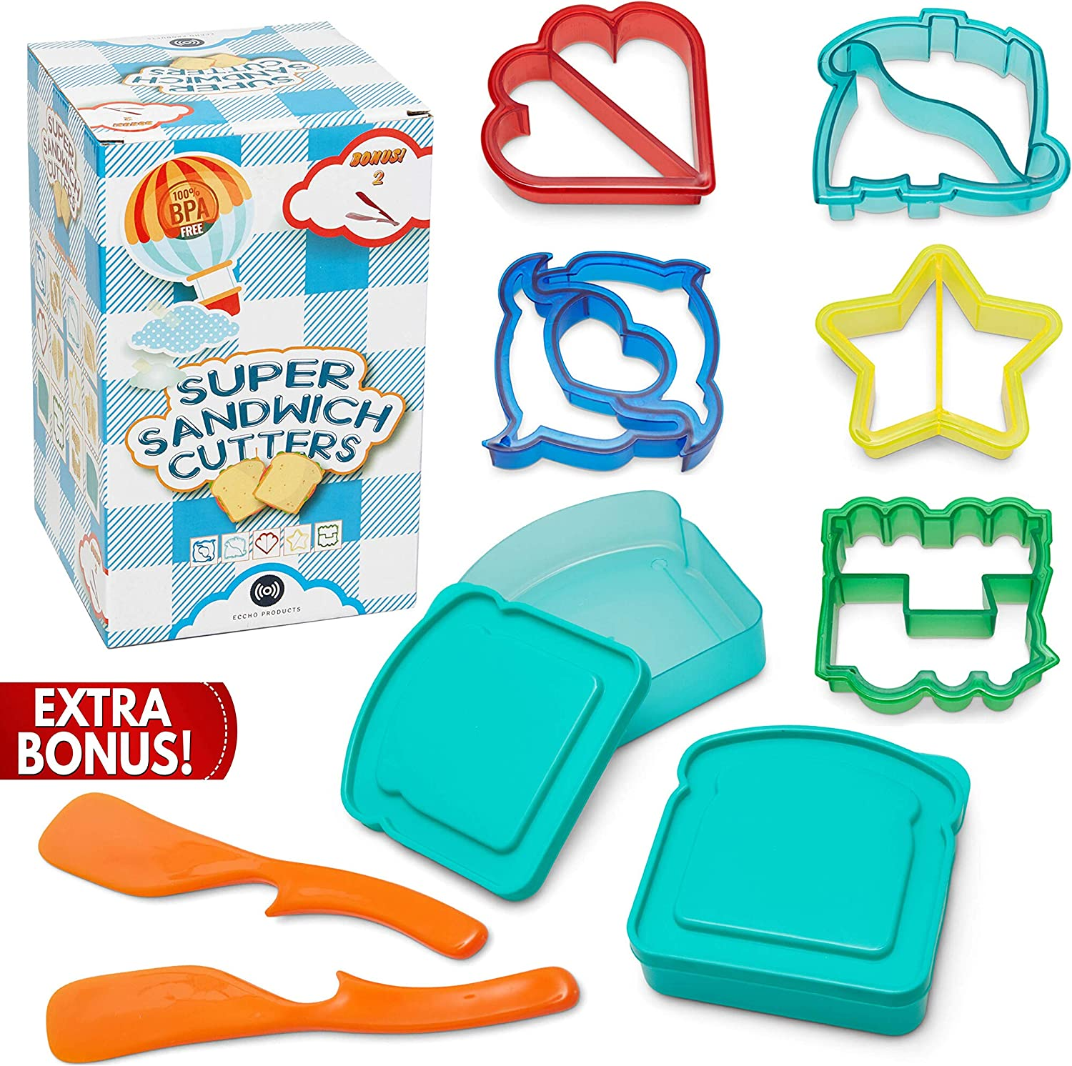 Eccho Products Super Sandwich Cutters for Kids, Bento Lunch Box Accessories, 2 Sandwich Containers, 2 Bonus Condiment Spreaders, BPA Free Plastic, Set of 5